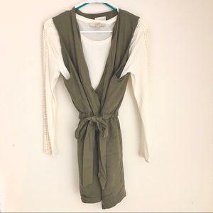 Jolt Army Green Oversized Wrap Vest
